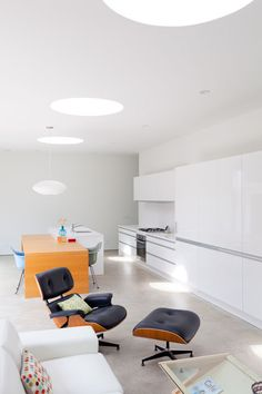 In Los Angeles, a prefab home by the Swiss architect Rother Kurath of Design*21 draws plenty of light from a central courtyard, but a series of skylights above the kitchen and living room also offer views of the sky. extended-shozi-residence-living-room-kitchen.jpg  Photo by Jessica Haye and Clark Hsiao.   This originally appeared in Looking Inward.