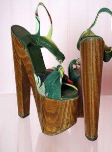 1970 Platform High Heel Vintage Shoes, Wooden Platforms
