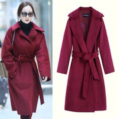 Autumn Winter Wool Cardigans Women Casual Long Sleeve Turn Down Collar Warm Oversized Long Outwear Loose Wine Red Wool Coat #Affiliate