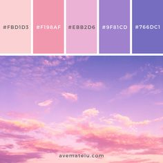 White Clouds and Blue Sky Color Palette – Ave Mateiu Color Schemes Colour Palettes, Pastel Colour Palette, Colour Pallette, Color Palate, Color Combos, Sky Colour, Sunset Color Palette, Purple Palette, Sunset Colors