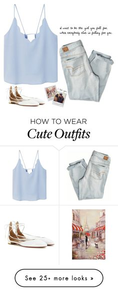 """//the best feeling is when you look at him & he's already staring//"" by creationsbycristina on Polyvore featuring MANGO, American Eagle Outfitters and Aquazzura"