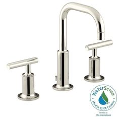 KOHLER Purist 8 in. Widespread 2-Handle Low-Arc Water-Saving Bathroom Faucet in Vibrant Polished Nickel with Low Spout