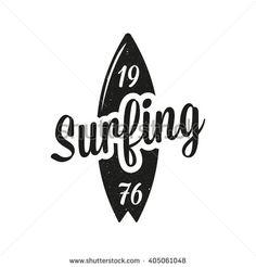 Vintage surfing emblem. Surf logo - stock vector                                                                                                                                                                                 More