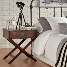 INSPIRE Q Kenton x Base Wood Accent Campaign Table - Overstock Shopping - Great Deals on INSPIRE Q Nightstands