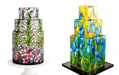 stained glass cakes buttercream art by Queeen of Hearts Couture Cakes