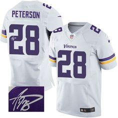 Men's Adrian Peterson Elite White Nike Jersey: NFL Minnesota Vikings #28 Road Autographed