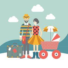 Vector Art : Hipster family concept. Vector illustration.