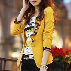 Spring Autumn Women Slim Blazer Coat 2016 New Fashion Casual Jacket Long Sleeve One Button Suit Ladies Blazers Work Wear
