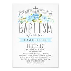 Baptism Invitations Rose Banner | Boy Baptism Invitation