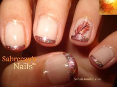 Thanksgiving Nail Art :: French Manicure in Copper Glitter... with a Fall branch. How sweet.