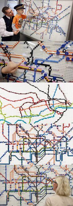 LEGO map celebrates 150 years of London Underground Lego London, London Map, Underground Map, Metro Map, Lego Sculptures, Lego Boards, Lego Club, Amazing Lego Creations, All Lego