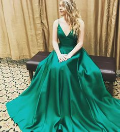 Simple green v neck long prom dress, green evening dress for teens