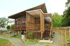 Bamboo House in Palawan at the Palawan Council for Sustainable Development. A model unit for the Zero Carbon Resort, this was a result from of the winning design participated by architects from Green Architecture Advocacy Philippines