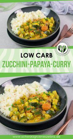 Dieses fruchtige Curry ist lecker, Low Carb, glutenfrei und gesund. Außerdem kommt es ohne Milchprodukte aus und ist so auch noch vegan. Das Rezept passt für jeden Tag und ist zu dem auch noch ohne Zucker. #lchf #keto #gesund #curry #abendessen #mittagessen Zucchini, Curry, Lchf, Ethnic Recipes, Food, Dairy, Sugar, Glutenfree, Head Of Cauliflower