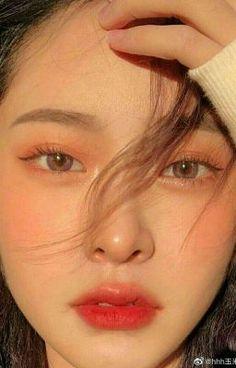 Makeup Korean Style, Korean Natural Makeup, Korean Eye Makeup, Asian Makeup, Edgy Makeup, Cute Makeup, Pretty Makeup, Makeup Looks, Peach Makeup Look