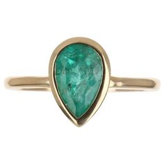1.83tcw 14K Colombian Emerald Pear Cut Bezel Solitaire Ring For Sale at 1stDibs Pear Cut Engagement Rings, Colombian Emeralds, Solitaire Ring, Green Colors, Gemstone Rings, The Incredibles, Gemstones, Clarity, Gold
