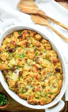 Focaccia, Cornbread and Andouille Sausage Stuffing: A Thanksgiving dinner must-have!