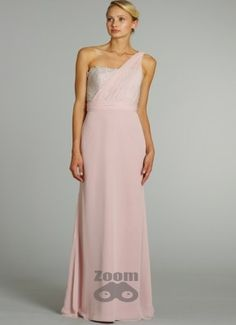 Picture of Chiffon One Shoulder Bridesmaid Dress, Long Lace Bridesmaid Dresses (comes in blush! Bridesmaid Dresses Ireland, Pink Bridesmaid Dresses Uk, One Shoulder Bridesmaid Dresses, Designer Bridesmaid Dresses, Dresses To Wear To A Wedding, Wedding Attire, Designer Dresses, Bridesmaids, Bridesmaid Duties