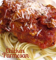 Six Sisters' Stuff: Slow Cooker Chicken Parmesan Recipe. Making this for dinner tonight, but with gluten free breadcrumbs, of course.