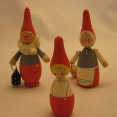 Vintage Wooden Swedish Tomte Family  Set of 3  by EntirelyApropos, $38.00