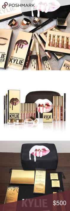 Kylie birthday edition FULL bundle Contains: 1 Lord Metal Lipstick 1 Poppin' Gloss 1 Leo Matte Liquid Lipstick and 1 Leo Pencil Lip Liner 1 Mini Matte Liquid Lipstick kit containing the following shades: Exposed (warm mid-tone beige), Dolce K (deep beige nude), Koko K (pale pink), Candy K (warm pinky nude), Kristen and Leo 1 Rose Gold Crème Gel Shadow 1 Copper Crème Gel Shadow 1 Dark Bronze KYLINER kit  containing 1 Crème Gel eyeliner 1 Pencil Eye Liner and 1 full sized synthetic small…