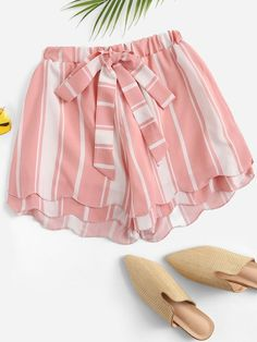 To find out about the Plus Striped Knot Front Shorts at SHEIN, part of our latest Plus Size Shorts ready to shop online today! Older Women Fashion, Girls Fashion Clothes, Girl Fashion, Fashion Outfits, Clothes For Women, Womens Fashion, Fashion Black, Fashion Fashion, Fashion Ideas