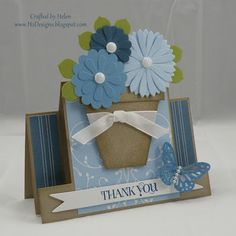 Designs: The Paper Players - Anything Goes - Tic Tac Toe - Mini Flower Pot & Centre Step Card Pop Up Cards, Cool Cards, Scrapbook Cards, Scrapbooking, Center Step Cards, Shaped Cards, Fancy Fold Cards, Easel Cards, Punch Art