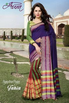 Purple and Green Color Cotton Sarees for Occasions : Essence Collection Type : Cotton Sarees for Festivals, Occasions and Weddings Unstitched Blouse included with the saree Design : Purple Saree, New Catalogue, Printed Sarees, Beautiful Saree, Cotton Saree, Green Colors, Blouse Designs, Tie Dye Skirt, Cool Designs