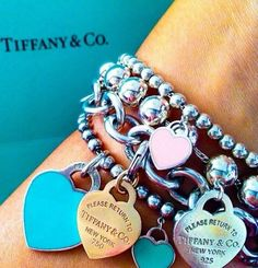 Tiffany bracelets I love hearts Tiffany Jewelry, Tiffany Charm Bracelets, Tiffany Rings, Tiffany Necklace, Opal Jewelry, Silver Bracelets, Bangles, Cute Jewelry, Jewelry Accessories