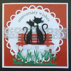 S091 - Hand made Anniversary Card using Marianne French Cats and IO Bench