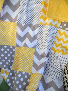 30x38 Yellow and Grey Chevron and Dots Cotton Quilt with Sunshine Yellow Minky Dot with Flannel Batting Gender Neutral via Etsy