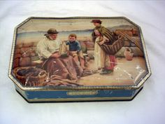 Vintage Jacob Biscuit Tin Fishing Scene entitled The Expert Opinion
