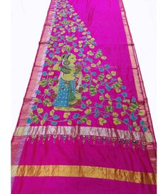 Pink Pure Handloom Kalamkari Hand Painted Silk Saree