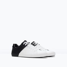 Zara Black and White Sneakers from ZARA. Saved to (S)hoes I love. Shop more products from ZARA on Wanelo. Zara Sneakers, Tennis Sneakers, Zara Shoes, Zara Fashion, Fashion Shoes, Sneakers Fashion, New Shoes, Men's Shoes, Color Block Shoes