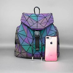 A fun and stylish, star pattern holographic backpack that changes color when it reflects light - price increases with every purchase - grab yours today! Laptop Backpack, Laptop Bags, Backpacks For Sale, Star Patterns, Color Change, Purses, Glow, Ootd, Rainbow