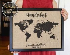 World Push Pin Map, Wanderlust Map Poster on Burlap, Push Pin Travel Map, Travel Art, World Map Poster, Vintage Map Poster, Vintage Map #vintagetravelposters #vintageposters #travelworldmap