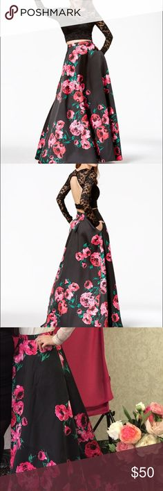B. darlin 2 piece dress B. Darlin 2 piece black lace and rose prom dress size 1/2 I only wore the skirt portion once for my bridal shower the top is brand new I love how slimming and comfortable this is not to mention gorgeous!!!! 🌹  Ask me any questions 😊 B Darlin Dresses Prom