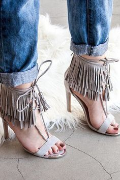 "Lace Up Fringe Heels Material: Faux Suede (man-made) Sole: Synthetic Measurement Heel Height: 3.5"" w/ 1.5"" Platform (approx)"