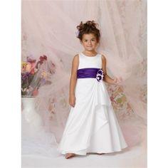 flower girl dress but with aqua sash