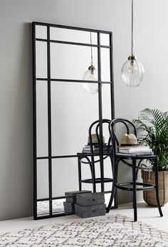 Black Iron Floor Standing Mirror High This large black iron mirror looks stunning just propped up against a wall. Black Wall Mirror, Rustic Wall Mirrors, Window Mirror, Floor Standing Mirror, Mirror Wall Living Room, Living Room Mirrors, Mirror Wall Bedroom, Industrial Mirrors, Mirror Wall