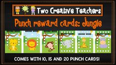 Two Creative Teachers - Jungle Theme Punch Cards  This resource contains punch reward cards. Simply punch a hole for each reward given. These cards are great to place with ribbon around them. For the best result print them in landscape format. There are options for 10, 15 or 20 hole punches.