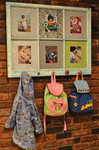 cute! frams scrapbook paper or fabric and photos of your kiddos for a fun personalized backpack hanger in the hallway!