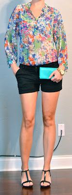 Outfit Posts: floral blouse, black shorts, t-strap wedges  http://outfitposts.blogspot.com