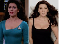 The Cast Of Star Trek Then & Now - Deanna Troi - Marina Sirtis. Deanna Troi, played by Marina Sirtis, has had many appearances in several Star Trek shows and movies, including Star Trek: Voyager and Star Trek: Enterprise. Star Trek 1, Star Trek Cast, Star Trek Show, Marina Sirtis, Star Trek Original Series, Star Trek Series, Famous Celebrities, Famous Women, Beautiful Celebrities