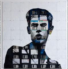 Artist and Central Saint Martins graduate Nick Gentry creates recycled art with obsolete media storage as his medium. After assembling canvases by puzzling together floppy disks with all kinds of different data, he paints portraits of over them. Recycled Art Projects, Floppy Disk, Urban Art, Collage Art, Painting Collage, Collages, Installation Art, Altered Art, Illustration Art