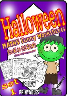 Halloween Maths Funny Worksheets for P-K, K and 1st Grade - Set 1