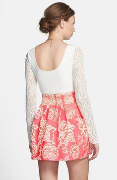 Floral Jacquard Pleated Skirt