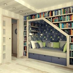 Gorgeous reading nook with bookshelves rosaliejane