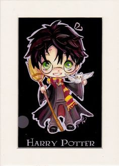 Chibi Harry Potter by StarInMyPocket, 4X6 print matted to fit 5X7 frame
