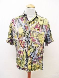 Vintage 90s Crazy Picasso Pattern Print Party Indie Geometric Shirt Large